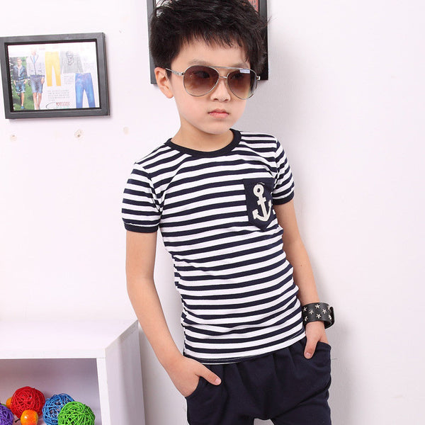 Marine Style Striped T-shirt and Pants Kiddie Boy Clothing Set