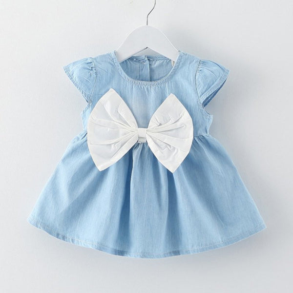 Cute Denim Style with Big Ribbon Baby Girl Dress