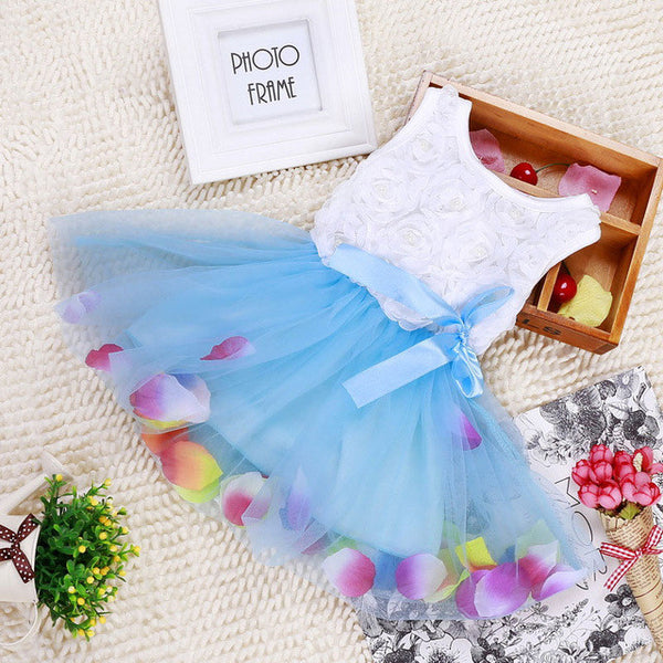 White Top with Petals on Skirt Baby Girl Dress