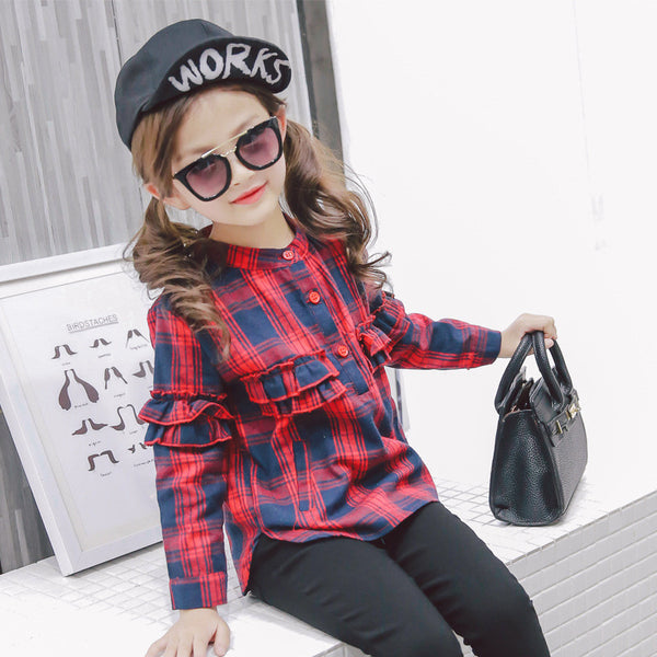 Checkered Polo Blouse - Kiddie Girl Tops & Tees & Blouses