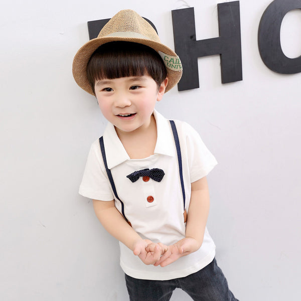 White Polo with Bow and Suspender Design - Kiddie Boy Tops and Tees