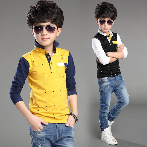 Long Sleeves Polo Shirts Kiddie Boy Tops and Tees