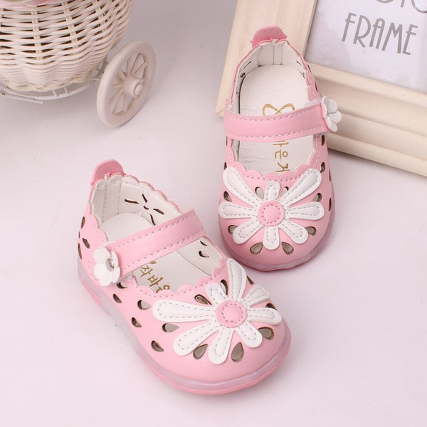 3f63a7e3413 Glowing Baby Girl Shoes and Sandals with Flower Accent with Led Light ...