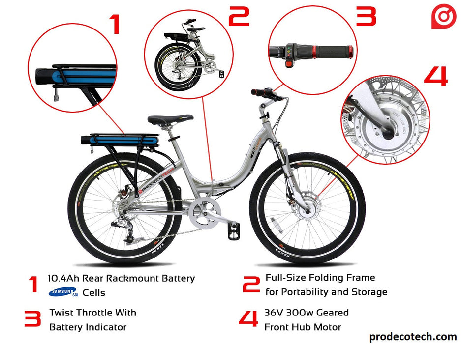 ProdecoTech Stride 300 v5F 36V 300W 8 Speed Step Through Electric Folding Bicycle - Electric Bike & Skate