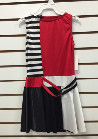 Striped Tank Sleeve Dress (Red/White/Black) - Medium Child