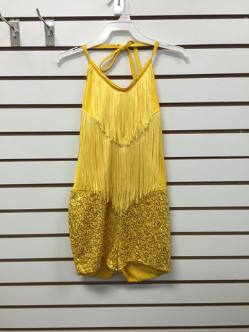 Yellow Fringe Biketard with Attached Sequin Shorts - Large Child