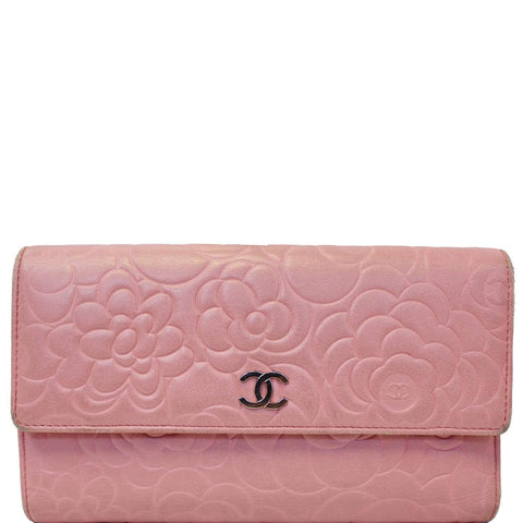 Chanel Camellia Leather Trifold Wallet Pink