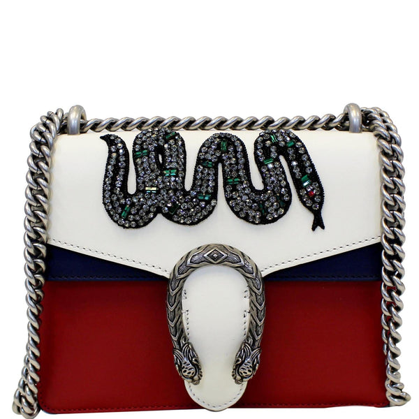 Gucci Dionysus Mini Crystal Embroidered Snake Bag - front look