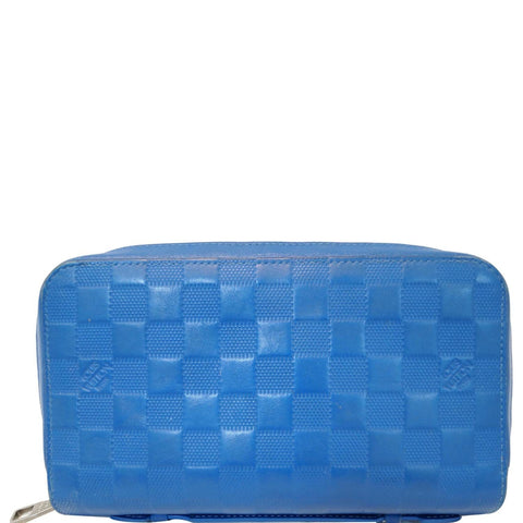 LOUIS VUITTON Damier Infini Neon Zippy Wallet Blue