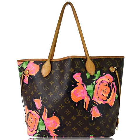 LOUIS VUITTON Neverfull MM Roses Monogram Canvas Shoulder Bag Brown
