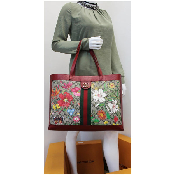 Gucci Ophidia GG Flora Medium Tote Hand Bag Red