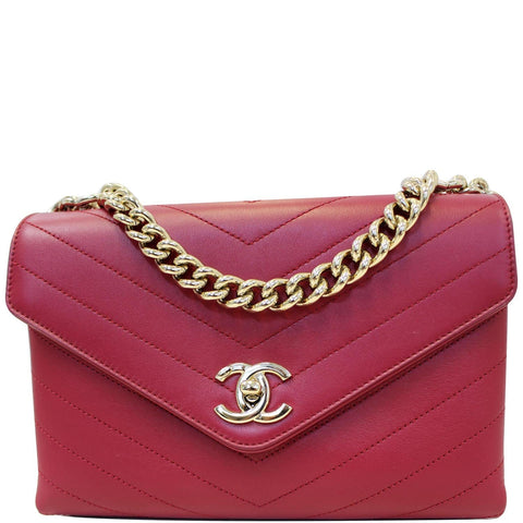 CHANEL Chevron Envelope Flap Lambskin Leather Shoulder Bag Red
