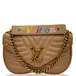 LOUIS VUITTON New Wave Chain MM Calfskin Leather Shoulder Bag Beige
