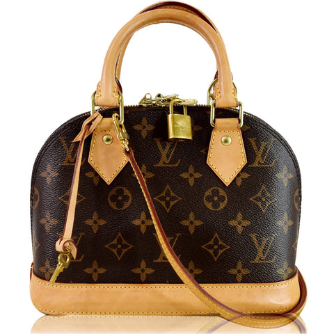 LOUIS VUITTON Alma BB Monogram Canvas Satchel Crossbody Bag Brown