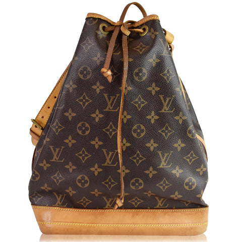 LOUIS VUITTON Large Noe Monogram Canvas Shoulder Bag Brown