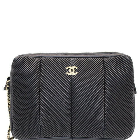 CHANEL Large CC Zip Chain Lambskin Leather Wristlet Clutch Black