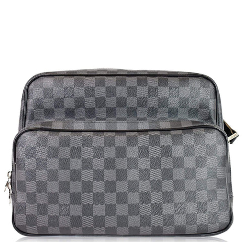 LOUIS VUITTON Sac Leoh Damier Graphite Messenger Bag Black