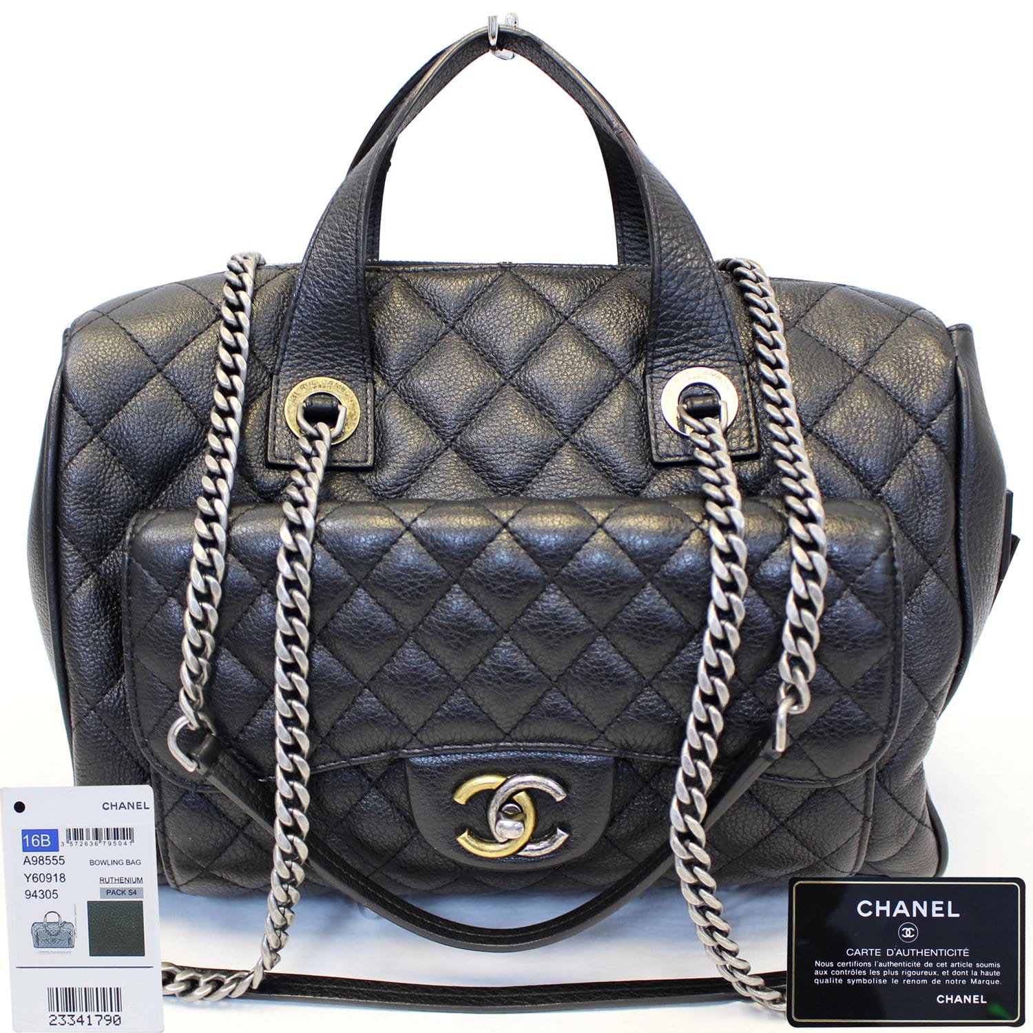 11902d425e19 CHANEL Metallic Grained Calfskin Quilted Leather Bowling Bag-US ...