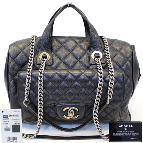 5dc302269b33 CHANEL Metallic Grained Calfskin Quilted Leather Bowling Bag