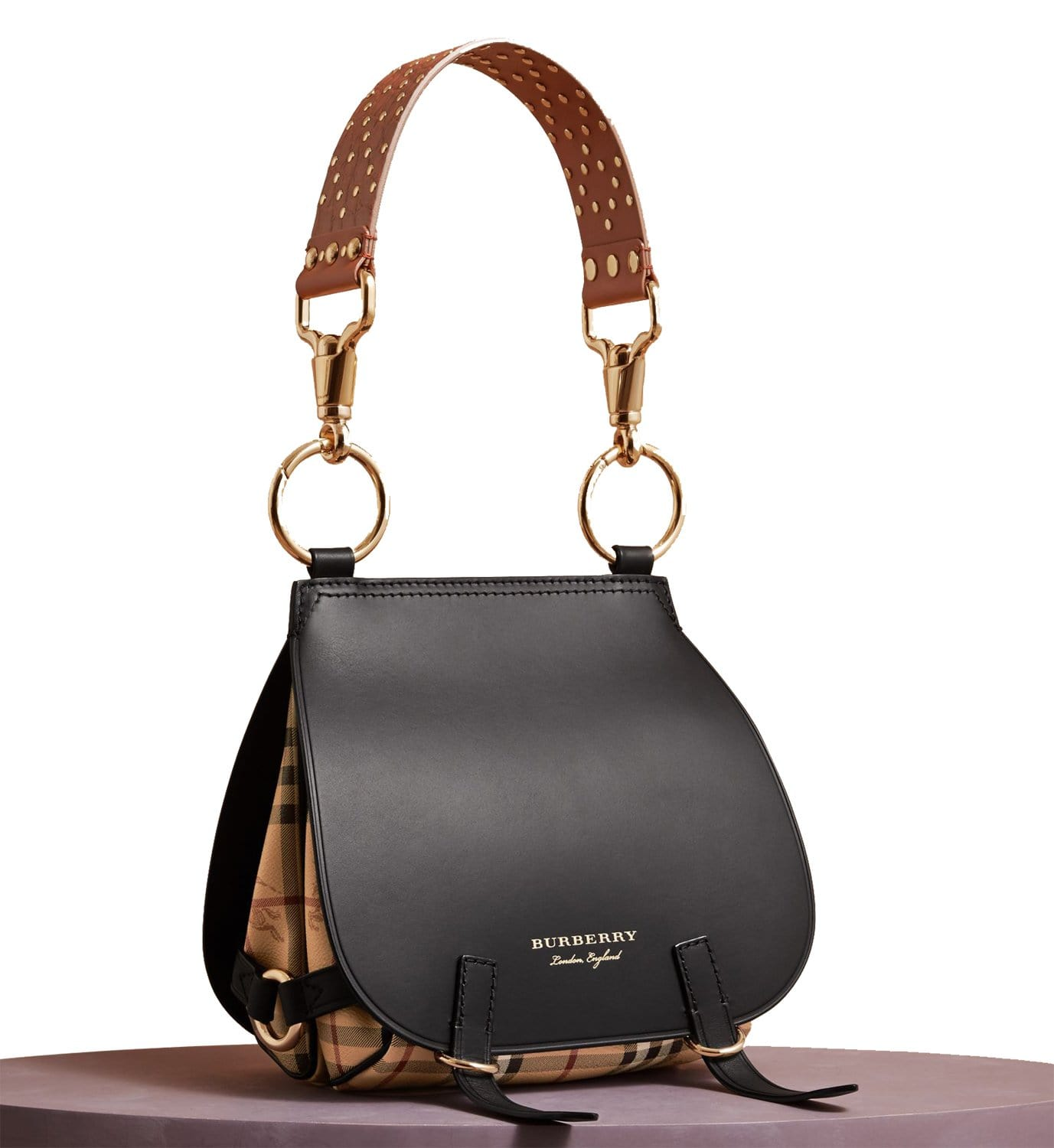 8d2288bb6080 BURBERRY Haymarket Check and Alligator Leather Bridle Bag