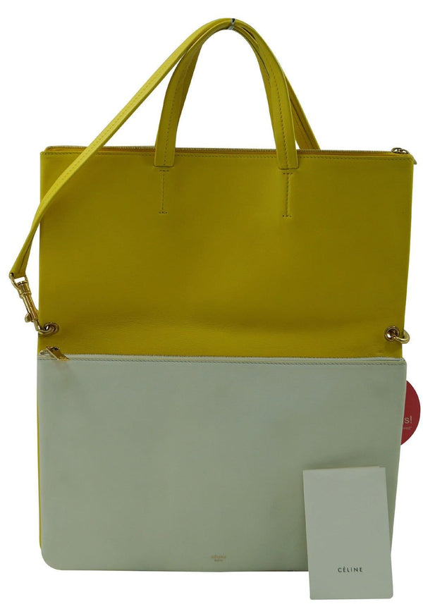 Celine Folded Hippo 3way Yellow White Leather Tote Shoulder Bag TT344 - Dallas Designer Handbags