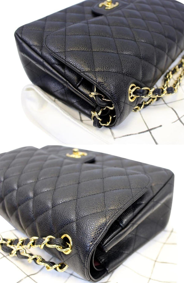 Chanel Double Flap Classic Jumbo Caviar Shoulder Bag - front view