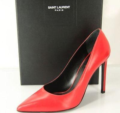 Saint Laurent Classic Paris 105 Leather Pointed Toe Size 38 Nib Red Pumps - Final Call