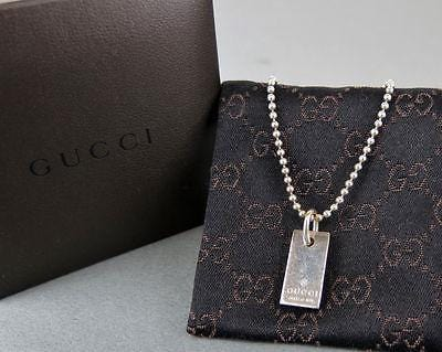 Authentic Gucci Sterling Silver 925 Mini Tag Ball Chain Bracelet w/Box E1496 - Dallas Designer Handbags