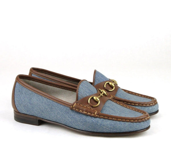 Gucci Blue Horsebit Women's Denim Loafer Moccasins Shoe - side