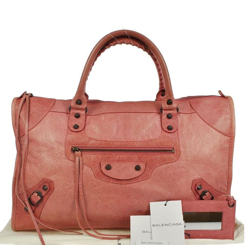 BALENCIAGA The Work Editor's Pink Leather Satchel Bag - Last Call