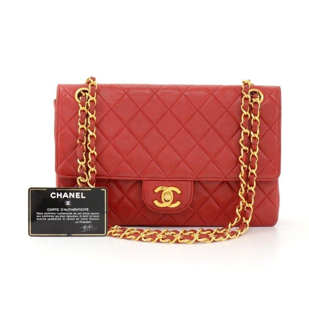 385f8280f8d2 Vintage CHANEL 2.55 10inch Double Flap Red Quilted Leather Shoulder Bag