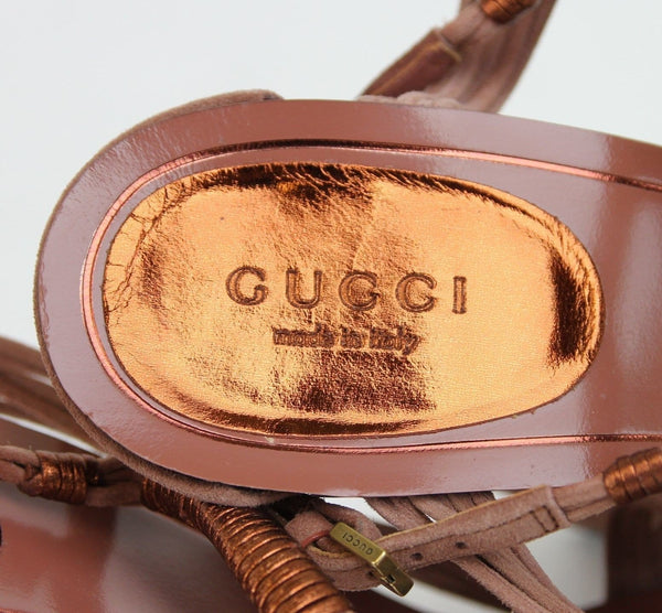 $750 NIB Gucci 309668 Rose Anita Metallic Leather/Suede Sandals EU 40 / US 10 - Dallas Designer Handbags