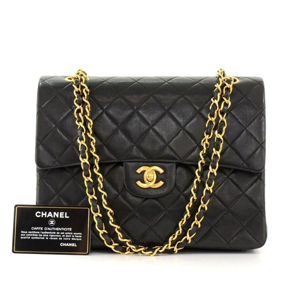 "CHANEL 2.55 10"" Tall Double Flap Black Quilted Leather Shoulder Bag Vintage"