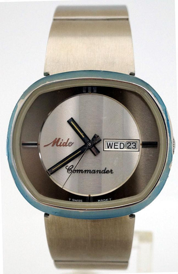 NEW Rare Mens Mido Commander 8669 Automatic Silver SS Day/Date Swiss Watch