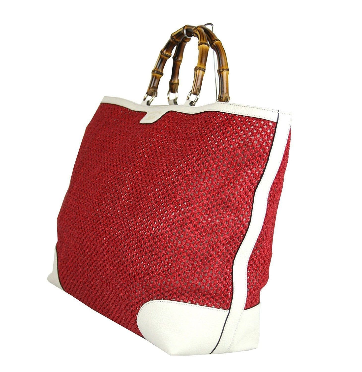 8547d0339f3 Gucci 338964 Red Straw Bamboo Handle Large Shopper Tote Trim - Final C