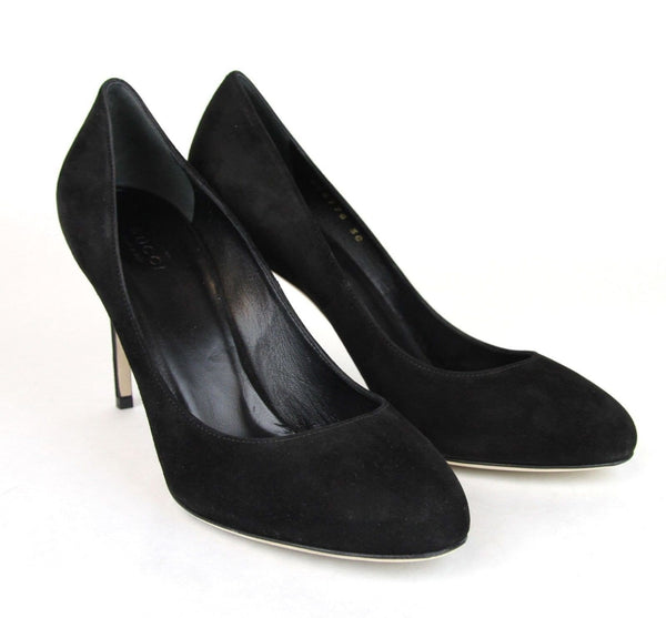 Gucci Heels Black Suede Interlocking - 100% Authentic leather