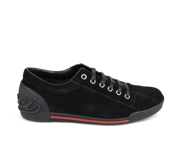 Gucci Sneakers - Gucci Women Black Sneakers Suede Trainer - laces