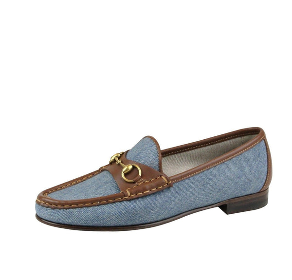 Gucci Shoes Blue Women - Gucci Horsebit Denim Loafer Shoe - side view