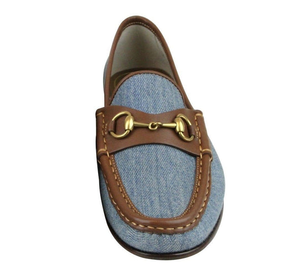 Gucci Blue Horsebit Women's Denim Loafer Moccasins Shoe - Front View