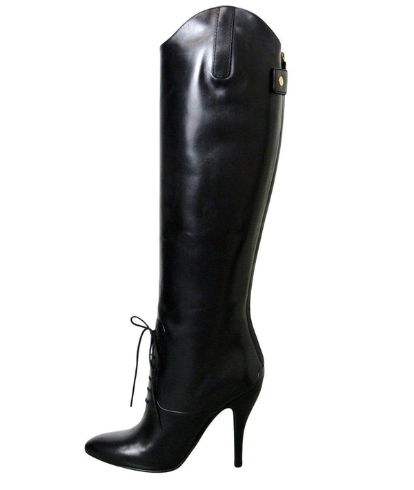 Gucci Black Leather Elizabeth High Heel Riding women Boots