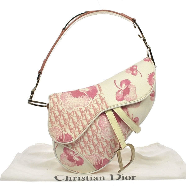 Christian Dior Saddle Trotter Hand Bag Pink Canvas Italy TT113 - Dallas Designer Handbags