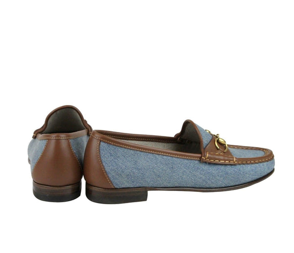 Gucci Shoes Blue Women - Gucci Horsebit Denim Loafer Shoe - back view