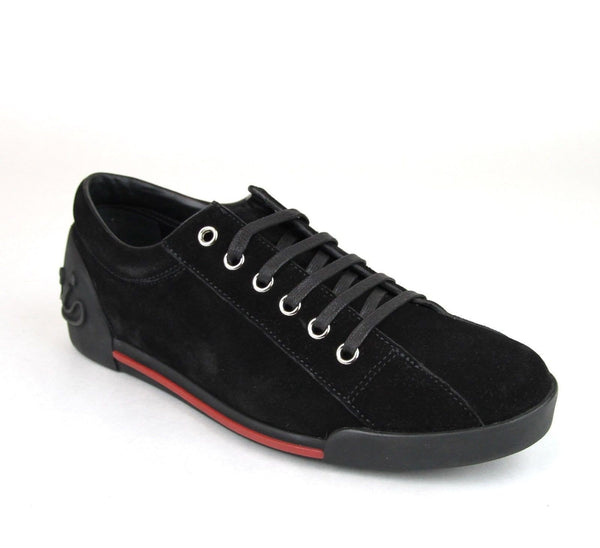 Gucci Sneakers - Gucci Women Black Sneakers Suede Trainer - side view