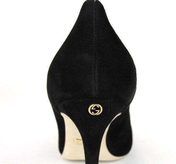 Gucci Heels Black Suede Interlocking - Gucci Shoes Women - back view