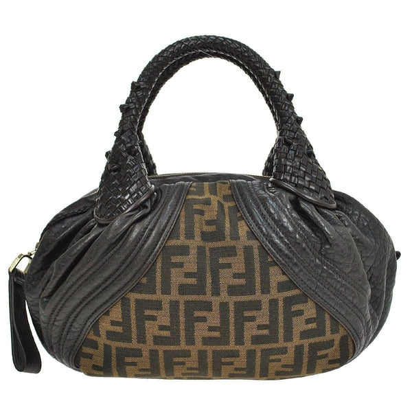 Fendi Zucca Pattern Handbag Nylon Leather