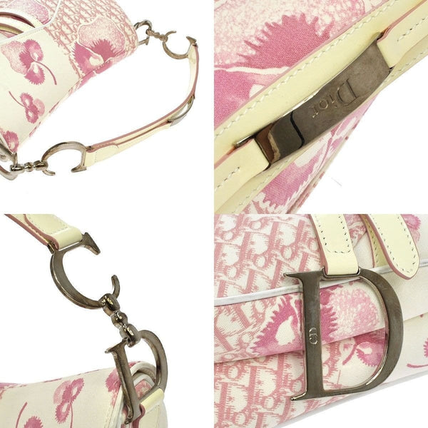 Christian Dior Saddle Trotter Hand Bag Pink Canvas Italy