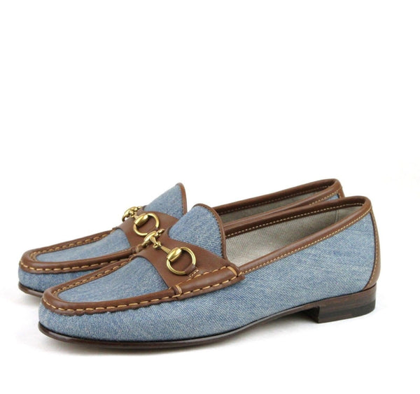 Gucci Shoes Blue Women - Gucci Horsebit Denim Loafer Shoe - authentic