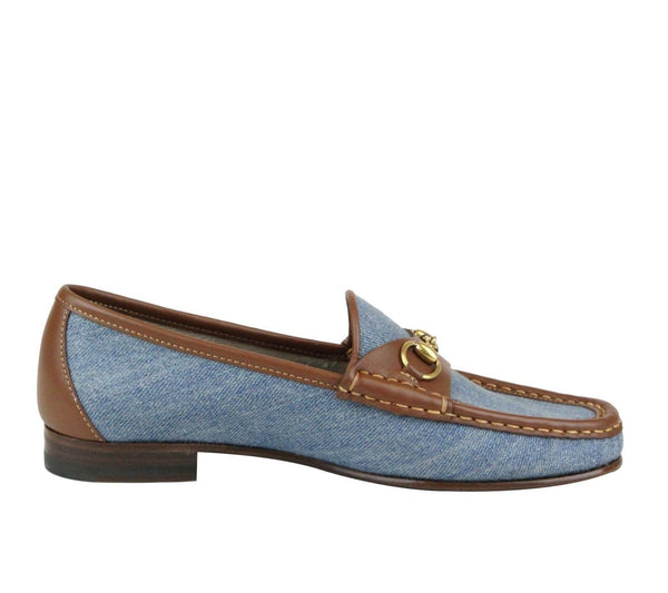 Gucci Shoes Blue Women - Gucci Horsebit Denim Loafer Shoe - bottom