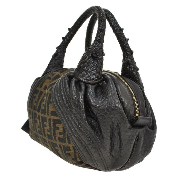 Fendi Zucca Pattern Handbag Nylon Leather -black strap