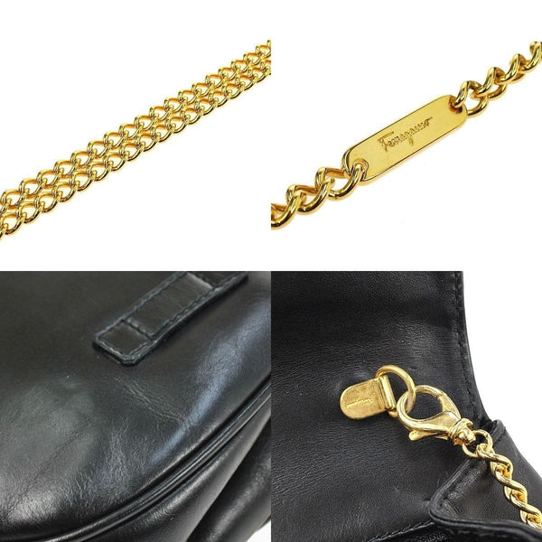 Salvatore Ferragamo Gancini Chain Black Gold Shoulder Bag